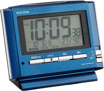 リズム時計 目覚まし時計 電波 デジタル フィットウェーブD164 温度 ・ 湿度 ・ 環境目安 付 青 RHYTHM 8RZ164SR11