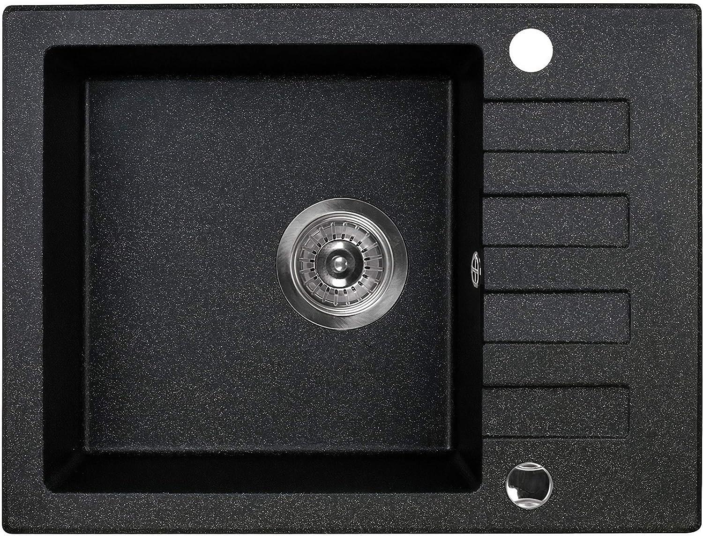 Manestein Fregadero de cocina de granito, con escurridor, fregadero individual con sifón, resistente a las manchas y fácil de limpiar, 80% arena de cuarzo, 1 seno, 58 x 44 cm, color negro moteado.