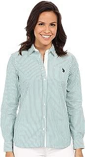 Juniors' Long Sleeve Stretch Poplin Woven Shirt