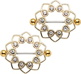 Body Candy Anodized Steel Clear Accent Angelic Halo Heart Nipple Shield Set of 2 14 Gauge 1