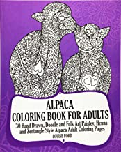 Alpaca Coloring Book For Adults: 30 Hand Drawn, Doodle and Folk Art Paisley, Henna and Zentangle Style Alpaca Coloring Pages