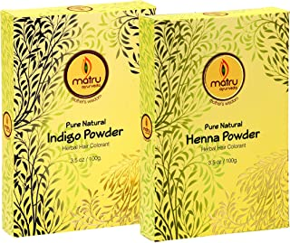 MATRU AYURVEDA 100gm Pure Henna Powder + 100gm Indigo Powder - Ayurvedic/Herbal Hair and Beard Dye/Color Kit. 100% Pure, Natural and Chemical Free, Covers Gray Hair, Strengthens Dull Hair (SET OF 1)