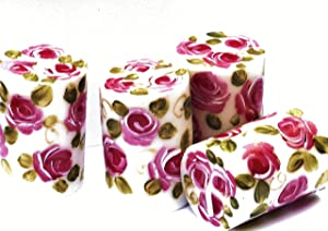 Romantic Decorative Small Short White Votive Candles Set of 4 with Hand Painted Pink Roses Shabby Chic Home Decor