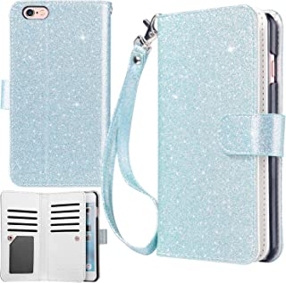 UrbanDrama iPhone 6S Plus Case iPhone 6 Plus Case, Sparkly Glitter PU Leather Magnetic Closure Credit 9 Card Slots Cash Holder Protective Case for iPhone 6 Plus Apple 6S Plus 5.5 inch, Light Blue