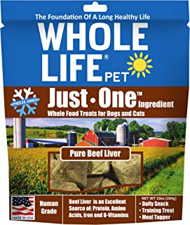 Whole Life Pet Products Pure Meat All Natural Freeze Dried Beef Liver Treats for Dogs and Cats, 10-Ounce