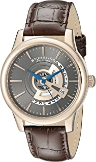 Stuhrling Original Men's Quartz Watch with Grey Dial Analogue Display and Brown Leather Strap 787.04