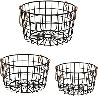 Shabby Chic French Country Round Wire Nesting Baskets Black With Copper Handles - Storage, Organization, Kitchen, Home, Decor - Set of 3