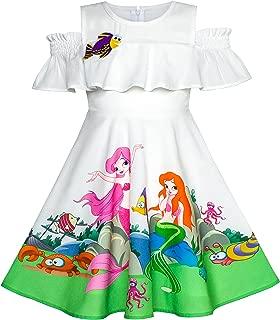 Girls Dress Mermaid Cartoon Princess Ruffle Collar Party Dress