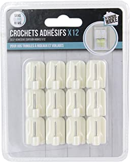 JE CHERCHE UNE IDEE CMDI8622 Lot de 12 Crochets Adhésif, Plastique, Blanc, 1,7 x 1,2 x 2,3 cm