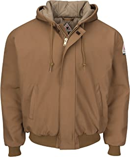 Bulwark Men's Brown Duck Hooded Jacket with Knit Trim