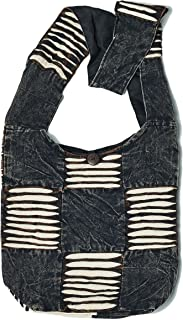 Black and White Razor Cut Patchwork Unique Crossbody Shoulder Boho Hippie Handbag Purse