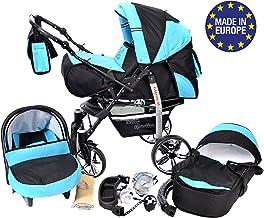 Sportive X2 - Sistema de viaje 3 en 1, silla de paseo, carrito con capazo y silla de coche, RUEDAS GIRATORIAS y accesorios (Sistema de viaje 3 en 1, negro, turquesa)