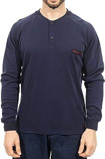 Titicaca FR Modacrylic Henley Shirt Flame Resistant 7oz Men's Pre-Washed Long Sleeve Navy T-Shirt