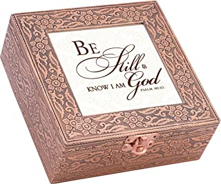 Be Still and Know That I am God Copper Stamped Metal Jewelry Music Box Plays Song Amazing Grace