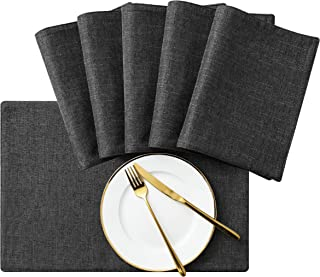 SyMax Table Placemats Linen Set of 6 Heat Resistant Fabric Table Mats Washable Table Runner for Dining Room,Party(Grey, 6pcs)