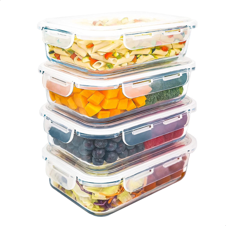 LG Luxury & Grace Pack 4 Recipientes de Cristal 1500 ml. Cierre Hermético. Envases Contenedores Aptos para Microondas, Horno, Lavavajillas y Congelador. Sin BPA.