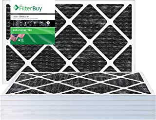 FilterBuy Allergen Odor Eliminator 18x18x1 MERV 8 Pleated AC Furnace Air Filter with Activated Carbon - Pack of 6-18x18x1