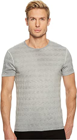 John Varvatos Star U.S.A. - Short Sleeve Striped Crew Reverse Spray K3589U1B