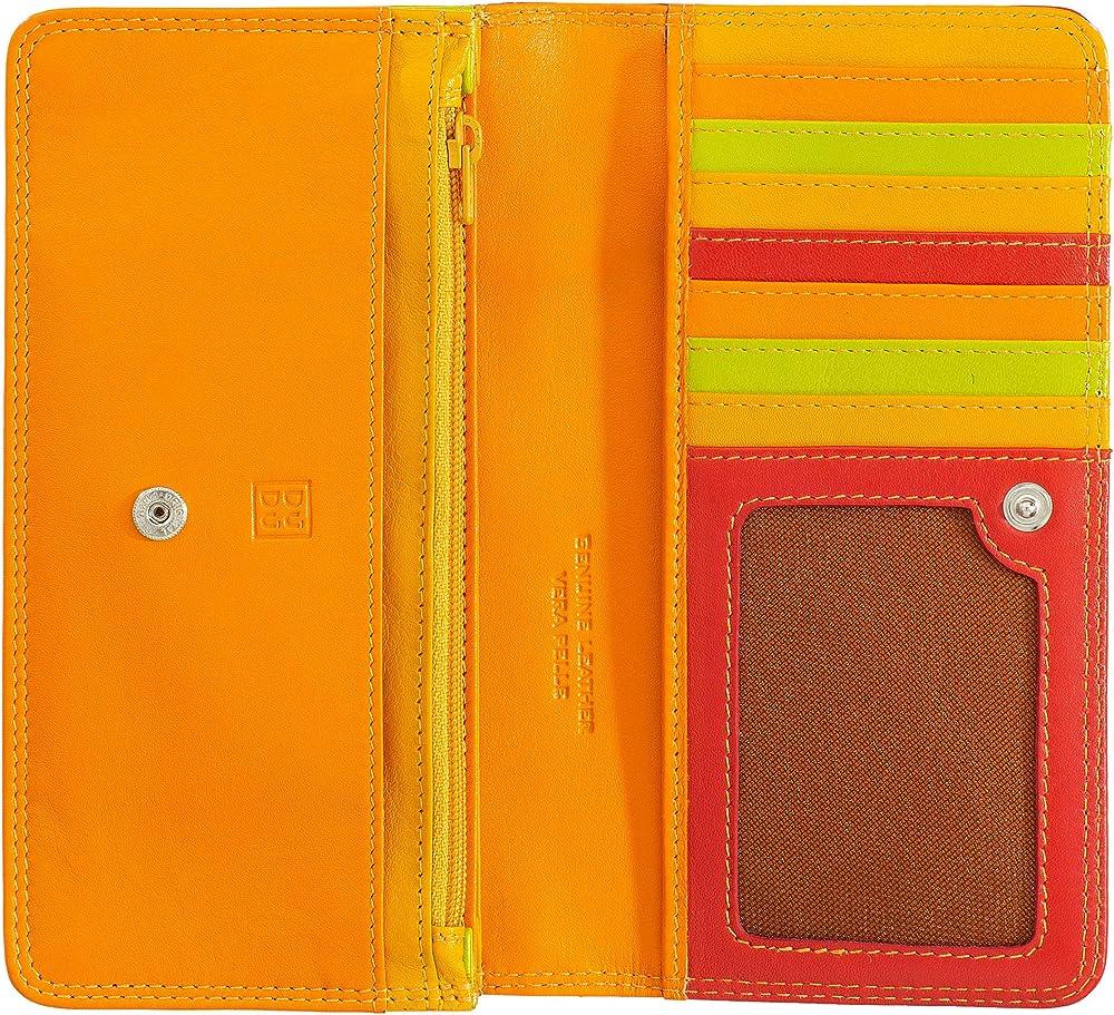 love moschino dudu, portafoglio in pelle morbida, multicolore da donna, protezione rfid, porta carte di credito 8031847130003