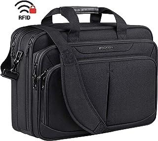 "KROSER Laptop Bag 17.1"" Upgraded Expandable Lightweight Briefcase for 17"" Laptop Premium Business Work Bag Water-Repellent Messenger Bag with RFID Pockets for School/Travel/Women/Men-Black"