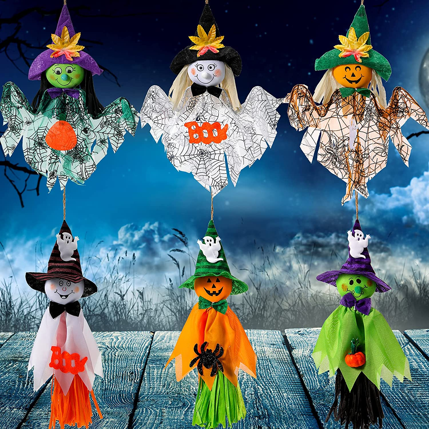 Skylety 6 Pieces Halloween Hanging Ghost Pumpkin Decoration Seattle Mall Ghos Max 85% OFF