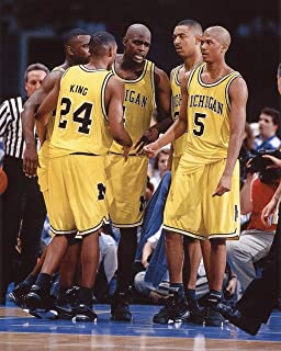 THE FAB FIVE MICHIGAN WOLVERINES BASKETBALL 8X10 SPORTS ACTION PHOTO (XLT)