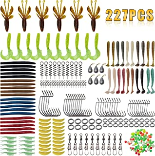 Fishing Worms Bait Lures Kit - 227Pcs Soft Plastic Lures Crawfish Lobster Rubber Worms Spring Twist Lock Worm Hooks Sinker Weights Swivel with Snap Fishing Beads Fishing Accessories