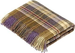 Moon Wool Plaid Throw Blanket, Pure New Wool, Tartan Glen Coe Heather, Made in UK