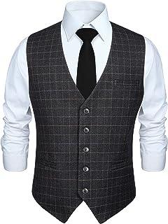 Enlision スーツ ベスト メンズ チェック柄 5ボダン 3ポケット スリム Vネック 尾錠付き ビジネス 結婚式 ジレベスト フィット S~XXXL