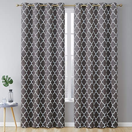 Amazon Com Hlc Me Lattice Print Pattern Thermal Insulated Blackout Room Darkening Energy Efficient Window Curtain Grommet Panels For Bedroom Dining Room And Office Set Of 2 52 W X 84 L Grey
