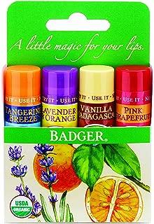 Badger Organic Lip Balm 4 Sticks Gift Set green Pack by grafton International, 2.4 Oz