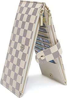 Daisy Rose Women's Multi card Wallet PU Vegan Leather Clutch Handbag RFID Blocking Organizer Card Holder with zipper pockets