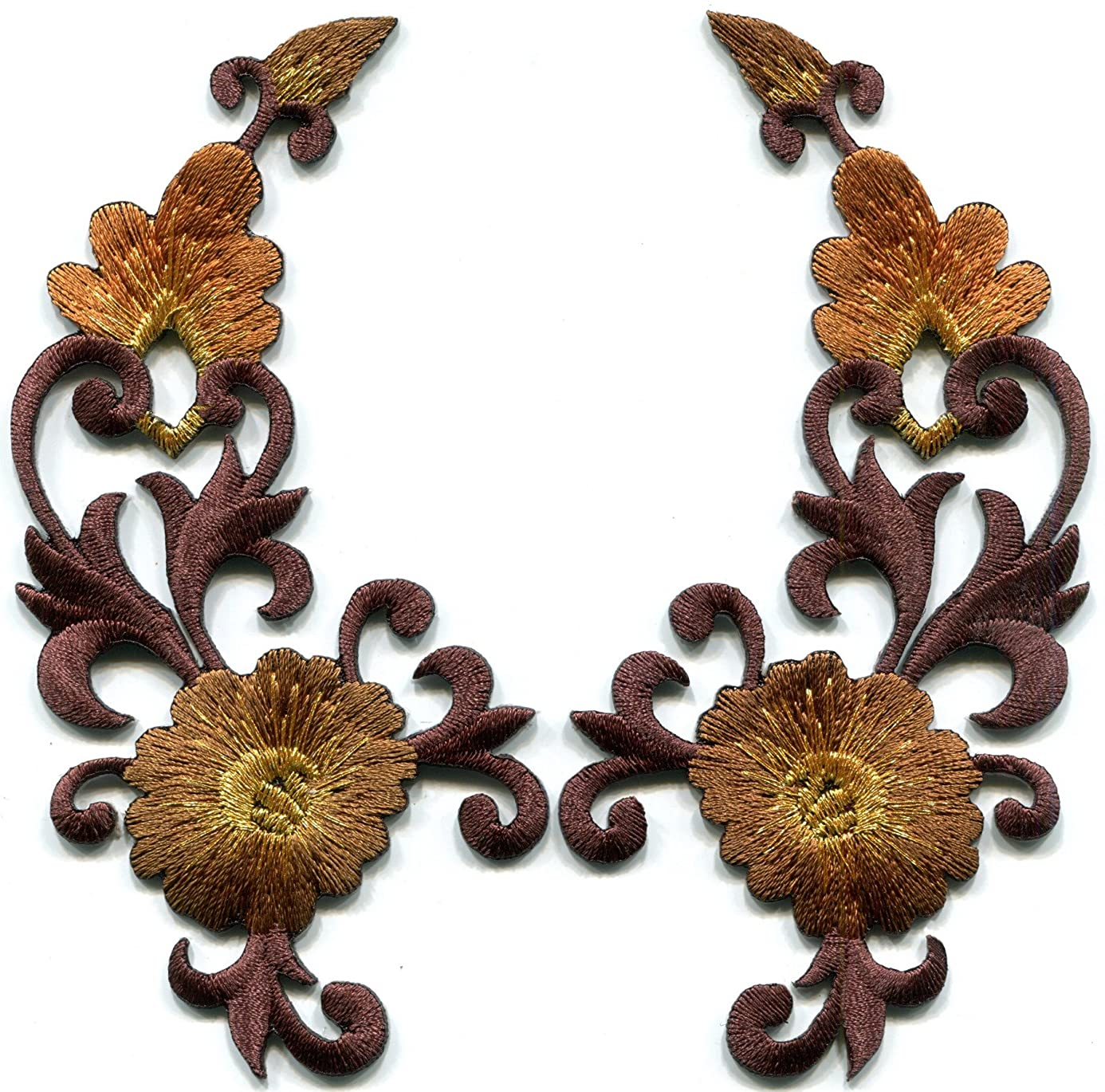 Brown bronze trim fringe flower boho art deco embroidered appliques iron-on patches pair new uof5746495