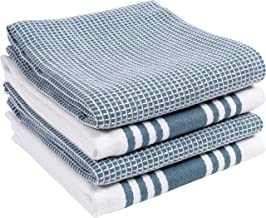 KAF Home Set of 4 Centerband and Waffle Flat Kitchen Towels | Set of 4 18 x 28 Inch Absorbent, Durable, Soft, and Beautiful Kitchen Towels | Perfect for Kitchen Messes and Drying Dishes (Blue)