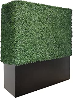 Artigwall Artificial Boxwood Hedge Divider Wall with Black Stainless Steel Planter Box (48
