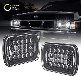 7x6 5x7 LED Headlights H6054 H5054 [Black Finish] [DRL Built-in] [H4 Plug & Play] [Low/High Beam] - H6054LL 69822 6052 6053 Head Light for Jeep Wrangler YJ Cherokee XJ