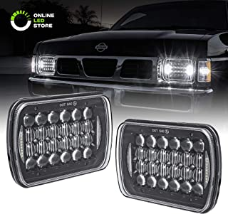 2pc 5x7 7x6 LED Headlight Sealed Beam Assembly [6,000 Lumens] [Black Housing + DRL] Head Lamp Replacement for Jeep Wrangler YJ & More