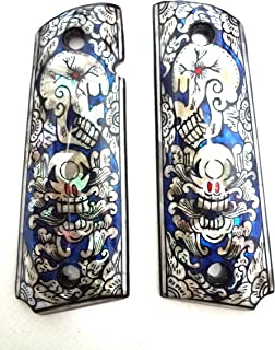 Sri Lanna Mother of Pearl Inlay 1911 Grips Blue Skull Fit with Colt S&W Kimber Springfield