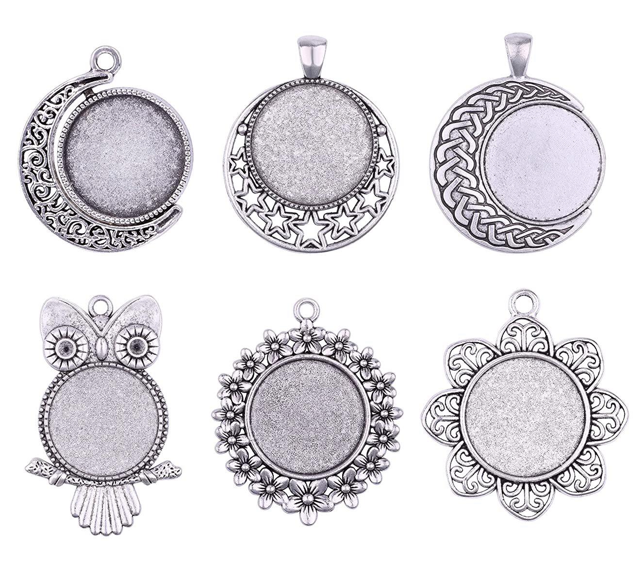 12pcs 25mm Mix Owl Flower Moon Round Pendant Rotation Trays Cameo Setting Cabochon Dome for Crafting DIY Jewelry Making (11562)