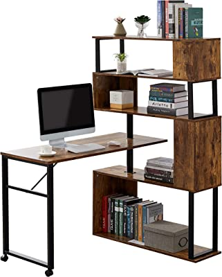 "Merax L-Shaped Corner, Rotating Computer Table,Four Installation Methods,Lockable casters Desk, 70.8"" L x 19.6"" W x 60.2"" H, Tiger"