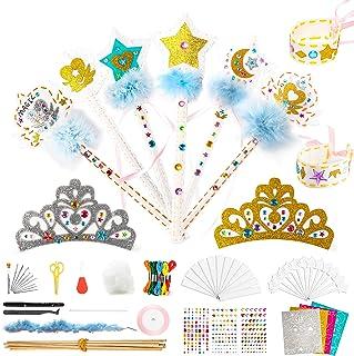 WATINC 18Pcs Princess Dress Up Sewing Kit for Kids DIY Arts Crafts Sew Kits Glitter Tiara Crowns Wands Jewel Bracelet Crea...