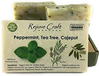 Peppermint Tea Tree Soap. All Natural and Organic. Handmade in the USA. For acne, eczema, fungal infections, allergic ski...