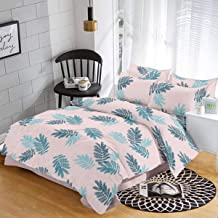 Trance Home Linen 100% Cotton 200TC Printed King Double Fitted Bedsheet with 2 Pillow Covers- Ivory with Aqua Leaves