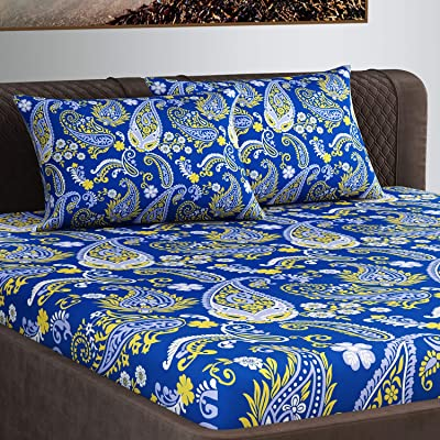 Divine Casa Premium Collection 100% Cotton 200 TC Floral Double Bedsheet for Double Bed with 2 Pillow Covers, Blue and Yellow