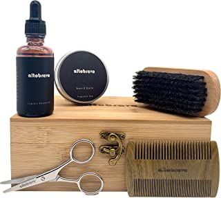 Beard Care Grooming Kit for Men Includes Trimmer Scissors, Organic Oil, Boar Bristle Brush, Styling Balm Wax, Sandalwood Comb and Bamboo Travel Case for the Growth of Healthy Mustache and Beards