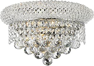 Worldwide Lighting Empire Collection 2 Light Chrome Finish and Clear Crystal Wall Sconce Light 12