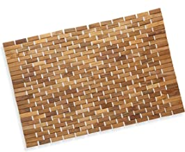 Luxurious Bamboo Bath Mat for Shower, Bath, Spa Or Sauna 27x19 Large by Precision Works