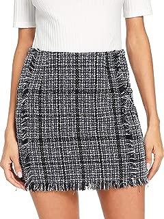 Women's Striped Zipper Raw Hem Smock Skirt