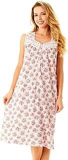 Womens Nightgown Sleepwear Cotton Pajamas - Womans Sleeveless Sleep Dress Nightshirt