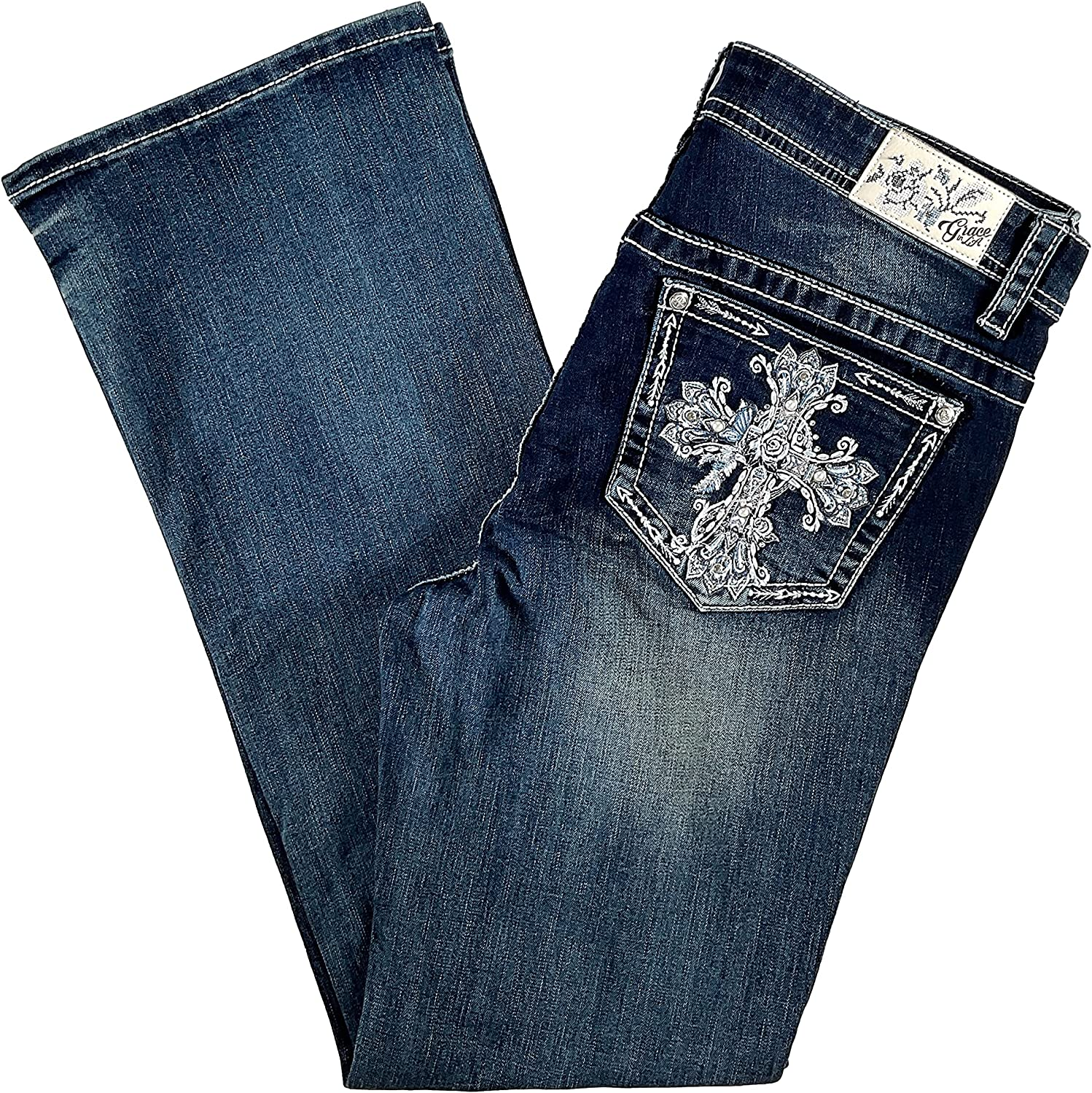 Grace in LA Women's Plus Mid Rise Rhinestone Faux Pearl Studded Cross Embellished Embroidered Bootcut Stretch Jeans